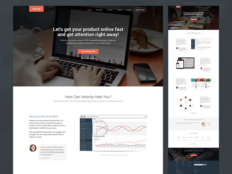Velocity - Bootstrap 4 Template For Products developer bootstrap template bootstrap 4 bootstrap css html5 website template marketing responsive theme bootstrap theme startup product
