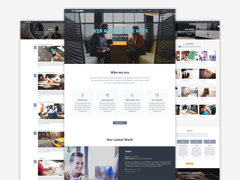 Devstudio - Bootstrap 4 Theme for Web Development Agencies template bootstrap theme bootstrap 4 portfolio startup agency landing page website template responsive theme html5 css bootstrap