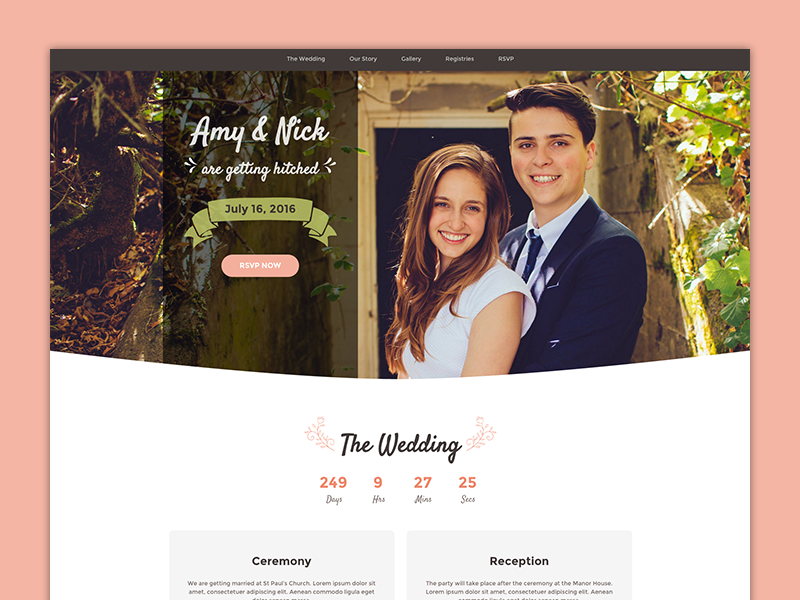 Matrimony – Bootstrap 4 Template for Wedding Invitations template bootstrap 4 bootstrap theme engagement wedding landing page website template responsive theme html5 css bootstrap