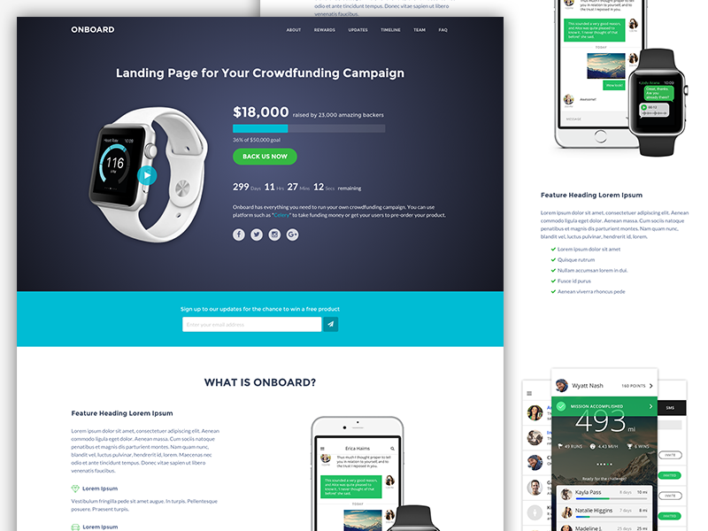 Onboard - Bootstrap 4 Template For Crowdfunding Campaigns html5 bootstrap theme bootstrap 4 crowdfunding website template theme responsive landing page bootstrap