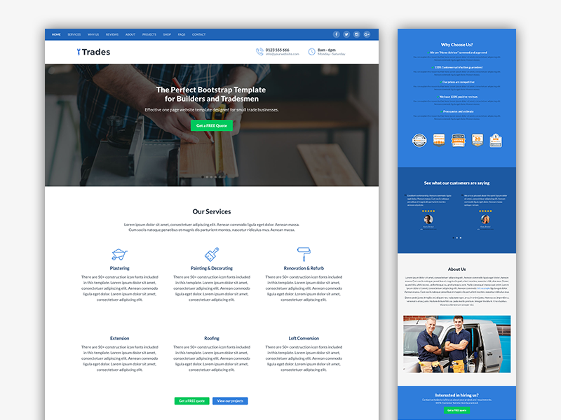 Trades - Bootstrap Template for Builders and Tradesmen marketing bootstrap template constrcution tradesmen builder html landing page bootstrap theme bootstrap 4 css html5 responsive website template theme bootstrap