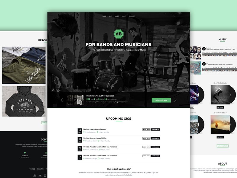 Decibel - Bootstrap Template for Bands and Musicians theme css landing page website template music html5 bootstrap