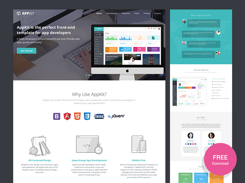 Appkit Landing - Free Bootstrap Landing Page for Startups css html5 landing page website template theme startup