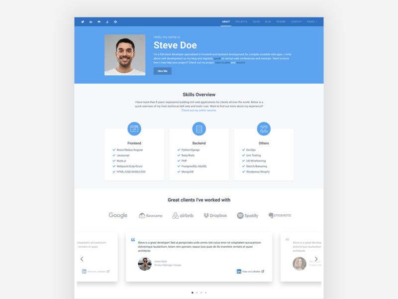 Instance – Bootstrap 4 Personal Portfolio Theme for