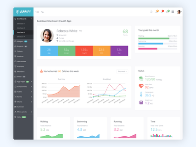 Appify Theme Dashboard 3 health and fitness health app dashboard theme bootstrap theme bootstrap 4 dashboard design admin template html5 app dashboard bootstrap website template startup css app design