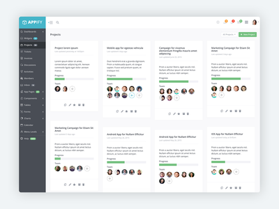 Appify Theme Projects Overview project management app design css startup website template bootstrap app dashboard html5 admin template dashboard design bootstrap 4 bootstrap theme theme dashboard