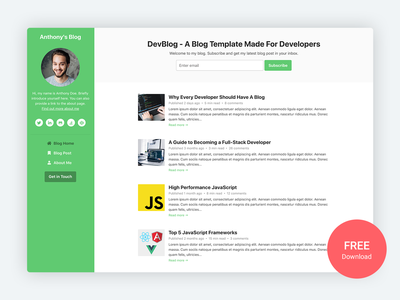 DevBlog - Free Bootstrap 4 Blog Template For Developers free template free personal branding personal blog bootstrap template software software development developer blog design blog bootstrap theme html template startup theme website template css html5 bootstrap 4 bootstrap