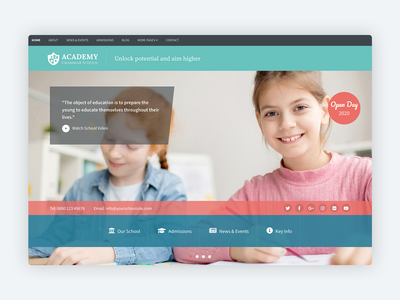 Academy - Bootstrap 4 Theme for Education teaching bootstrap template schools college bootstrap theme html5 css website template children kids learning nursery bootstrap school education bootstrap 4 theme template