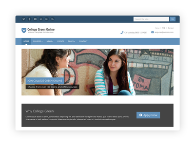 College Green - Bootstrap 4 Theme for Education responsive html template theme css html5 website template higher education university college school education bootstrap theme bootstrap template bootstrap bootstrap 4
