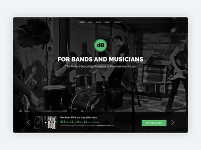 Decibel - Bootstrap 4 Template for Bands/Musicians band musician music html css html5 theme marketing responsive landing page website template bootstrap theme bootstrap template bootstrap 4 bootstrap