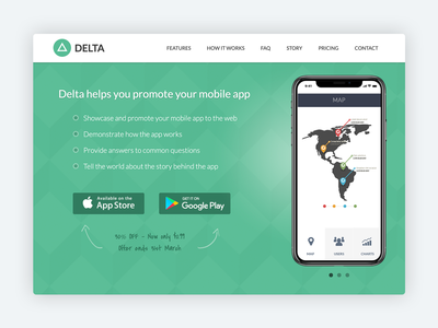 Delta – Bootstrap 4 Template for Mobile Apps