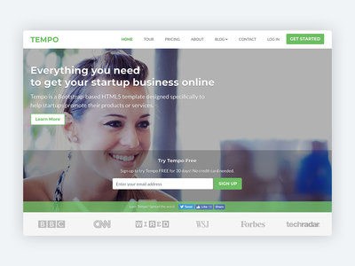 Tempo – Bootstrap 4 Theme for Startups software company developers developer bootstrap template mobile product startup bootstrap theme theme responsive marketing website template html5 css bootstrap bootstrap 4 landing page template html