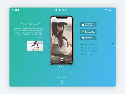 Atom – Bootstrap 4 Theme for Mobile App Startups app landing app landing page saas mobile product developer bootstrap template html template marketing startup responsive landing page bootstrap theme html5 css bootstrap 4 theme website template bootstrap