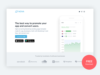 Nova – Free Bootstrap 4 App Landing Page Template for Developers app landing page app landing free mobile product developer bootstrap template html template marketing startup responsive landing page bootstrap theme html5 css bootstrap 4 website template theme bootstrap