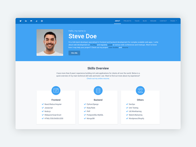 Instance – Bootstrap 4 Personal Portfolio Theme for Developers