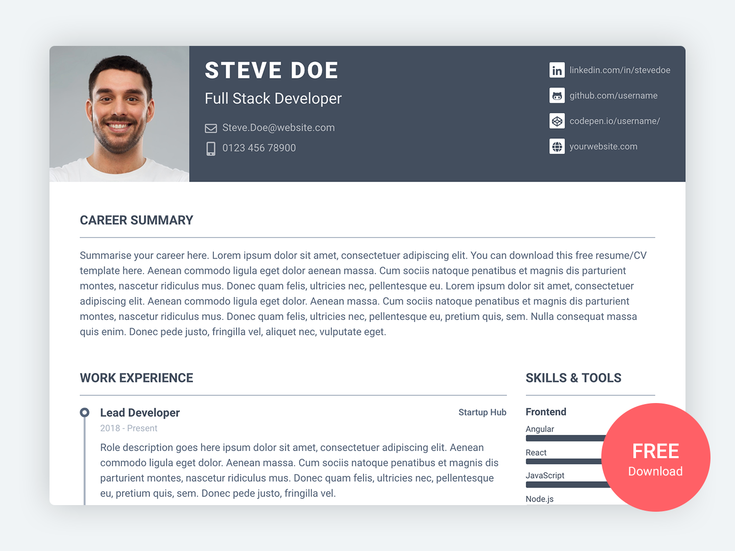 pillar  u2013 free bootstrap 4 resume  cv template for