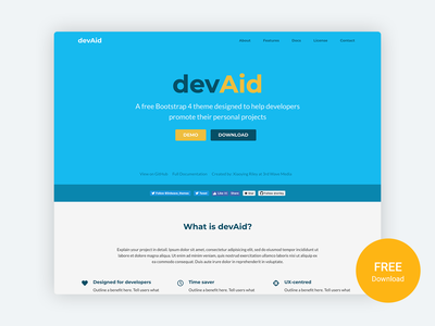 devAid - Free Bootstrap 4 Template for Developers' Side Projects software software development sideproject html bootstrap template developer marketing responsive landing page bootstrap theme css html5 bootstrap 4 website template theme bootstrap