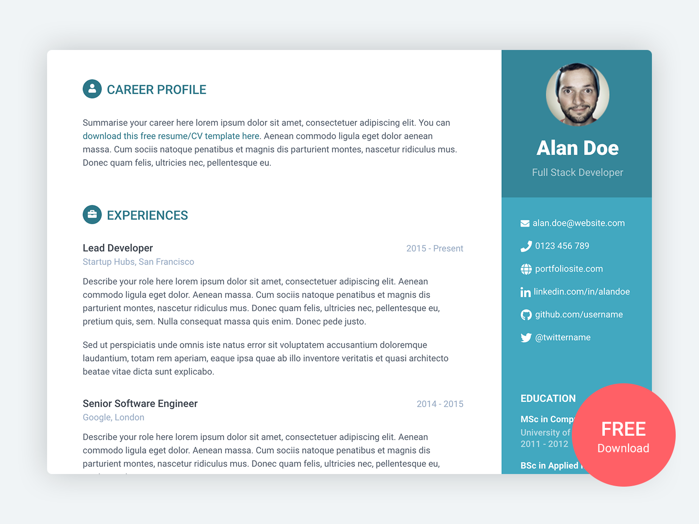 Orbit Free Bootstrap 4 Resume Cv Template For Developers By