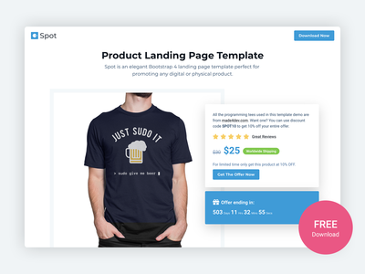 Spot - Free Product Landing Page Template For Developers template startup bootstrap4 marketing campaign ecommerce physical product digital product products product landing page bootstrap theme html5 website template bootstrap