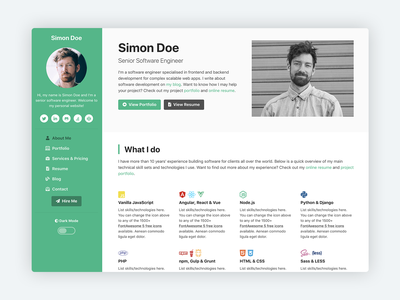 Devcard - vCard & Portfolio Template for Software Developers bootstrap website template bootstrap 4 html5 css theme bootstrap theme responsive template bootstrap template developer developers personal personal branding personal blog personal business card portfolio cv resume software development