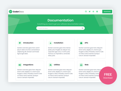CoderDocs – Free Documentation Template For Software Projects bootstrap theme website template bootstrap 4 css html5 bootstrap theme landing page responsive startup template html bootstrap template developer free documentation knowledgebase