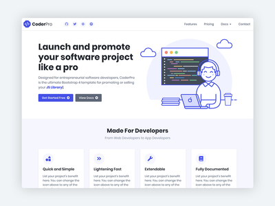 CoderPro - Bootstrap 4 Startup Template For Software Projects software development software developers developer product design bootstrap template product marketing startup responsive css html5 theme template landing page bootstrap theme bootstrap 4 website template bootstrap