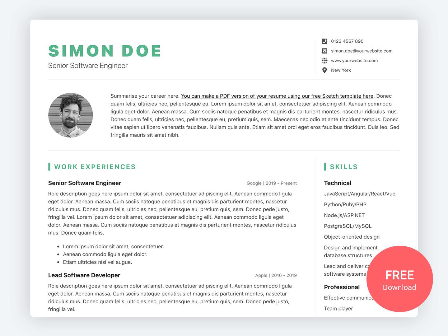 devresume  cv template for