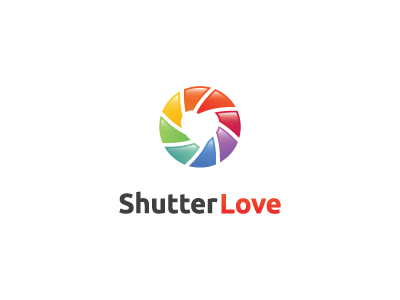 Shutter Love web 2.0 eyes symmetry shutter love heart logo brand color rainbow pic picture photo photography shoot camera photographer lens eye see watch observe symbol negative space colorful circle logo mark for sale abstract design