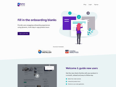 Bytes Route website landing page startup webdesign ui product tours onboarding landing page