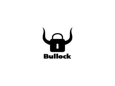 Bullock illustration web design net logo brand buy logo bull horns lock security key safety software strong elegant black and white versatyle bold identity