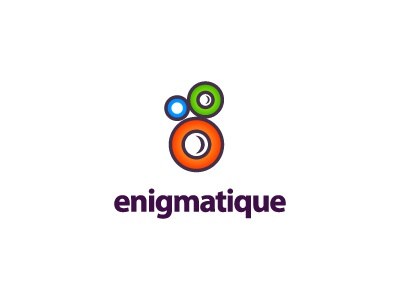 enigmatique logo brand enigma mystery circle blue green orange purple photography photo flash shot