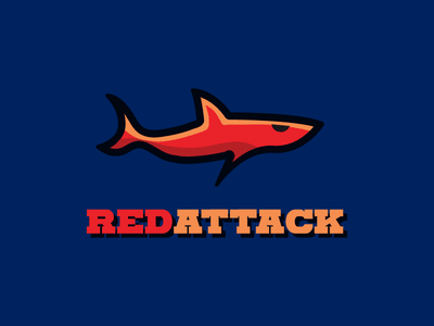 Red Attack modern shape logo agility red water sea attack shark