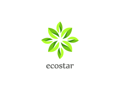 ecostar ecological environment nature plant green energy eco leaf leaves circle logo brand graphic mark industrial organic spring wind ecology petal flower beautiful tree blow blossom negative space graphic design natural symmetry
