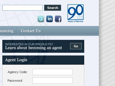 Insurance Broker site insurance navigation blue login