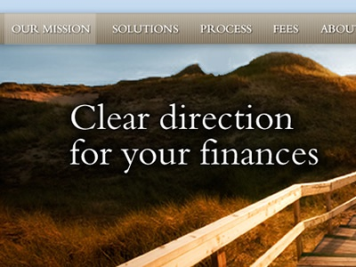 Nav and home page messaging for financial services company