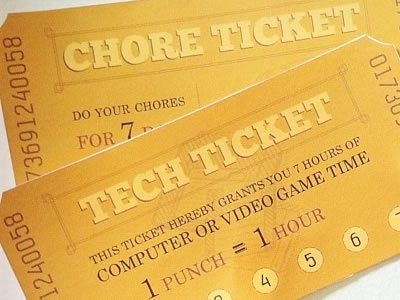 Chore and Tech Tickets printable tickets gold fireworks