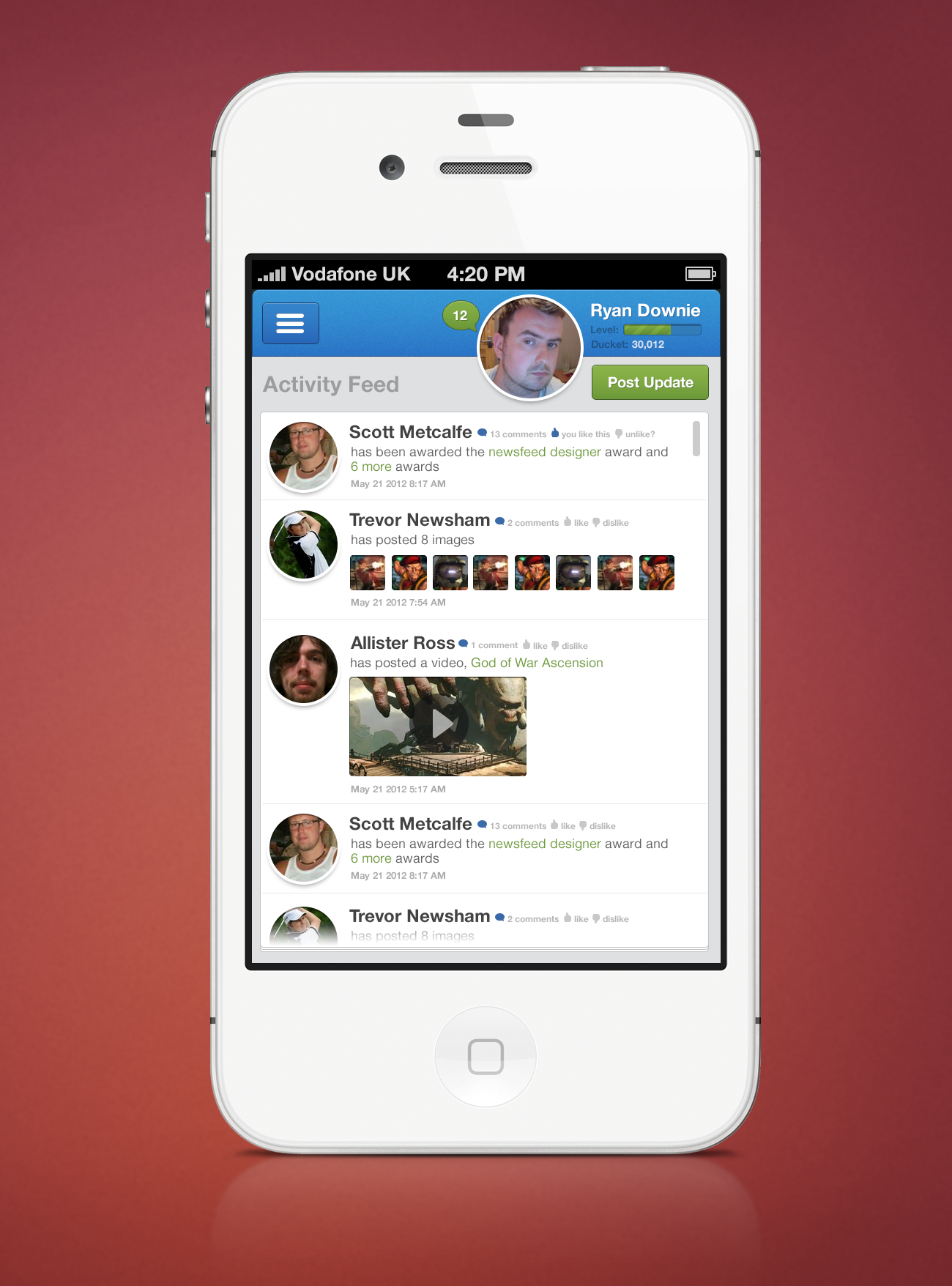 Dribbble news feed iphoneg by ryan downie news feed iphone publicscrutiny Image collections