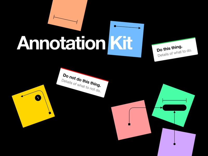 📝Annotation Kit lines sticky note measure examples arrows stickies figma tools kit annotations