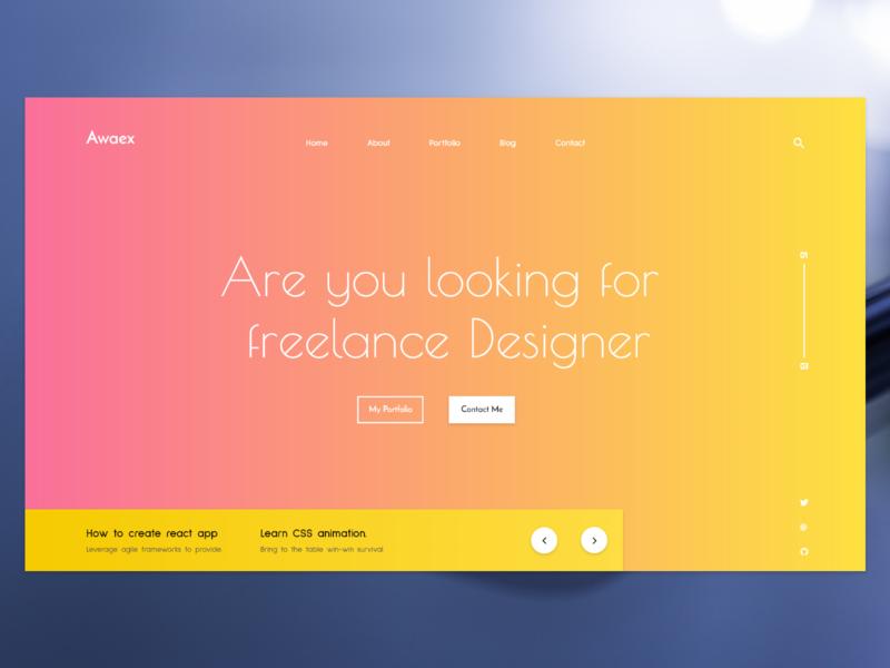 Awaex - full screen design header portfolio site full screen full width home page design website web ui ux design