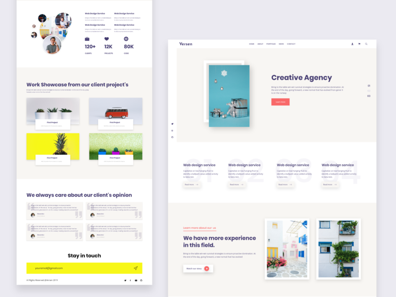 Creative agency landing page agency agency website landing page concept landing page home page design website web ux ui design