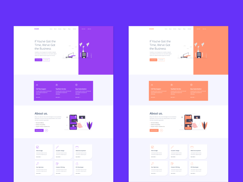 Omex - Responsive HTML Agency Template multipage onepage agency website landing page concept landing page home page design website web ux ui design