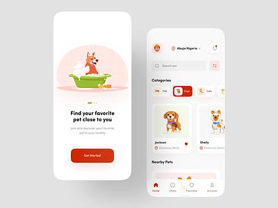 Pet Adoption App ui design uxdesign uiux mobile minimalist pet store app mobile ui pet ui 3d design animal app pet care pet adoption cat app dog app pet app ux ui