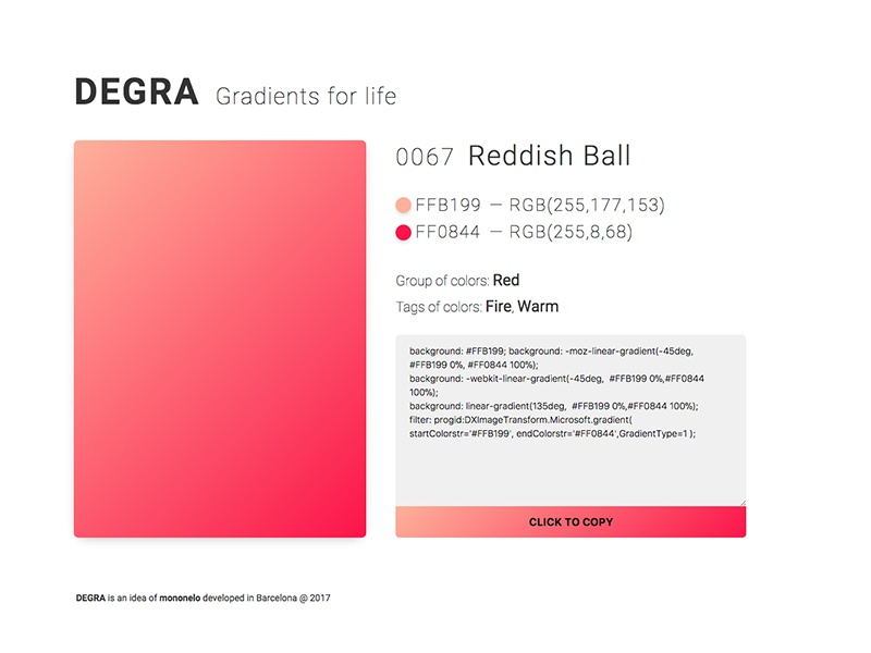 Degra – Gradients for life css embed code life project gallery gradients degra