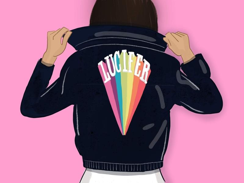 Lucifer Rising rebel woman lucifer illustration leather jacket