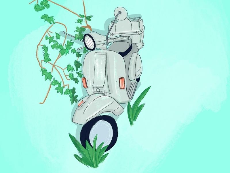 Motorbike Sketch california motor vroom transportation digital art sketch illustration vespa motorbike