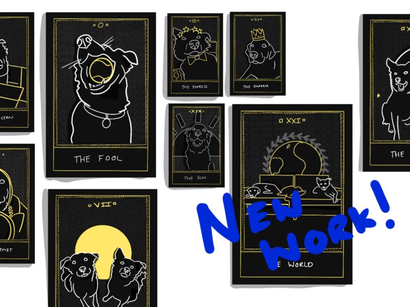 Tarot Cards fortune telling doggos dark minimal illustration tarot deck tarot dogs