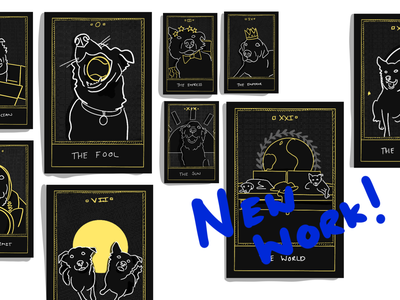 Tarot Cards fortune telling doggos dark minimal illustration tarot deck tarot dogs