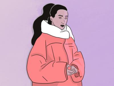 Puffy Jacket winter female big jacket illustration procreate normcore fashion