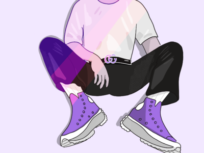 Slouching style fashion normcore gucci purple illustration relax converse