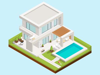 Dream house design modern pool isometric art isometric design isometric illustration isometric illustration house dream